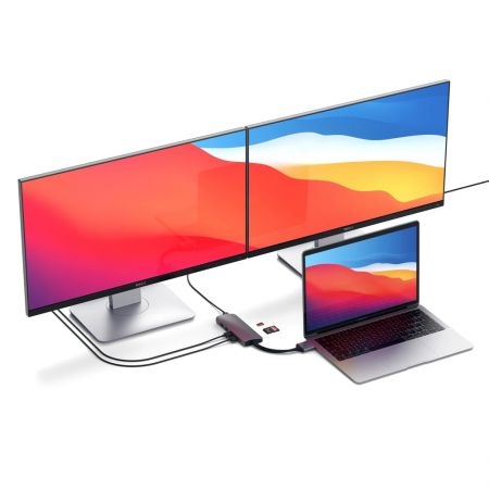 SATECHI - Hub Multimédia Double HDMI USB-C - Gris Sidéral